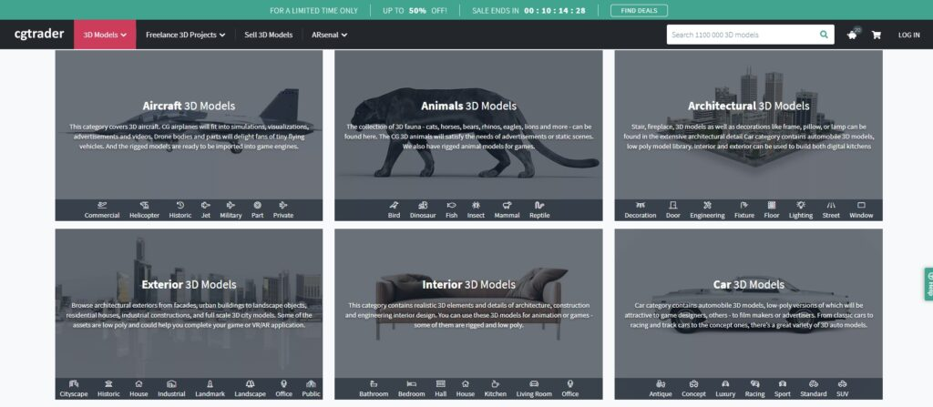 интерфейс сайта CGTrader с 3д моделями