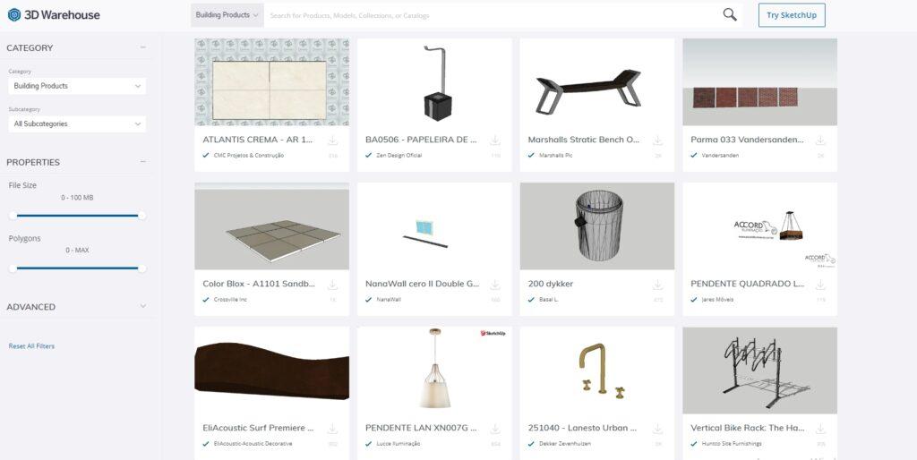 Интерфейс сайта Warehouse с 3д моделями